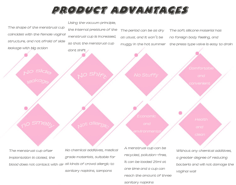 Wholesale Feminine Hygiene Product Medical Silicone Menstrual Cup Menstrual Period Cup Reusable Foldable Bag Packing for Women 10