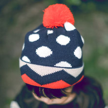 Helisopus Baby Girls Cotton Wool Ball Cap Orange Dots Hats Autumn Winter Warm Cute Hat Fashion Mixed Color Hats(China)
