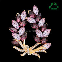 Luxury Unique Purple Crystal Wheat Various Fruit Grape Berry Strawberry Crystal Gold Tone Brooch Pin Women Jewelry Brooches Clip