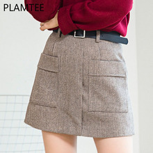 PLAMTEE High Waist A-Line Skirt 2017 New Autumn Winter Vintage Warm Female Woolen Skirts Solid Pockets Short Saia Feminina S~XL