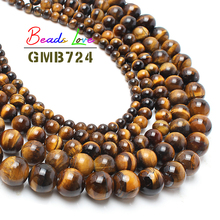 "Hot Sale Natural Stone Beads Yellow Tiger Eye Beads For Jewelry Making 15.5"" Pick Size: 4 6 8 10 12 14mm -F00068"