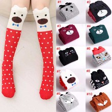 New Design Girl Cartoon Cotton Knee High Middle Tube Socks For Children meias calcetines baby leg warmers special M