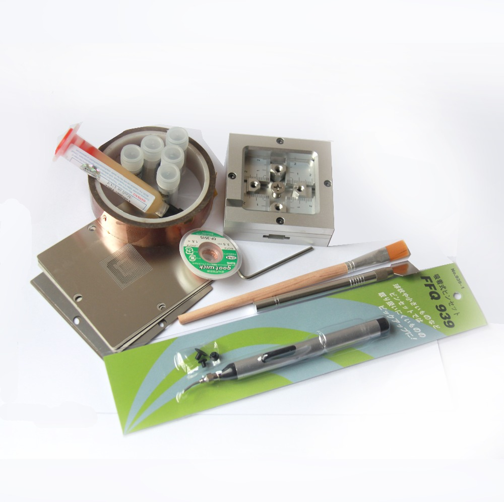BGA Rework Kit 80*80 Universal fixtures Bga Reballing Stencil Kit for Laptop Gameconsole 10 pcs Stencil + free gifts<br>