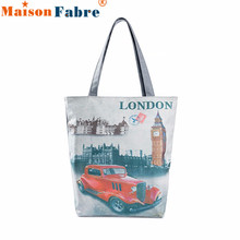 Women London Big Ben Canvas Bookbag Handbags Female Casual Shoulder Bag Ladies Portable Beach Bag Large Shopping Totes Dec26