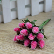 10pcs/lot Small Glass Berries Artificial Flower Red Cherry Stamen Pearlized Wedding Party decor artificial fruits 7zcx-za078(China)