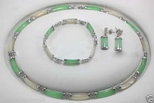 Hot sale new Style >>>>>New Jewelry Green & White stone Link Necklace Bracelet earrings Set(China)