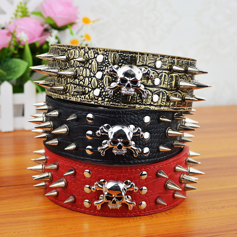 (20 Pieces/lot) Wholesale Leather Studded Spikes and Skull Pet Products Supplier Dog Collar(China (Mainland))