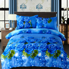 4pcs Bedding Set 3D Print Quilt Cover Set Beautiful Flower Plant Printed Comfortable Cover Set Colorfast No pilling Shrink-proof