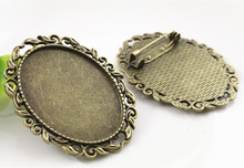 New Fashion 2pcs 30x40mm Inner Size Antique Bronze Pin Brooch Pierced Style Base Setting Pendant (B1-17)(China)
