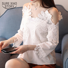 Buy 2018 new spring lace blouses fashion long sleeved blouses solid sexy style shirts women tops sim white women clothing D563 30 for $13.03 in AliExpress store