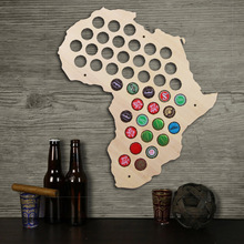 Free Shipping 1Piece Africa Beer Cap Map Wooden Craft Beer Cap Display Art Wood Craft Novelty Gifts For Beer Lover Cap Collector
