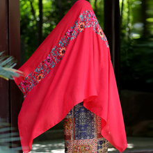 Muslim islamic Hijab Wraps Japanese Ethnic Style scarf Cotton scarf women Echarpe long soft Shawl  linen female Embroidery sh05