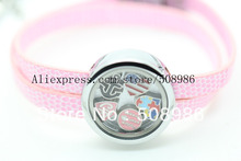 10pcs floating charm memory living glass locket pink leather bracelet ,charms not included(China)