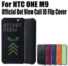 Retail Hot Sale Fashion Official Call ID Flip Cover For HTC ONE M9 Dot View Case No: M903