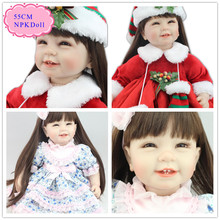 New Year Gift 55cm 22'' Realistic Reborn Dolls With Good Price Baby Doll Clothes And Long Hair High End Reborn Toddler Doll Toy(China)