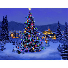 NAIYUE Christmas Tree Diamond Painting Cross Stitch DIY Christmas Gift 5D Light Christmas Nightscape Diamond Mosaic Embroidery(China)