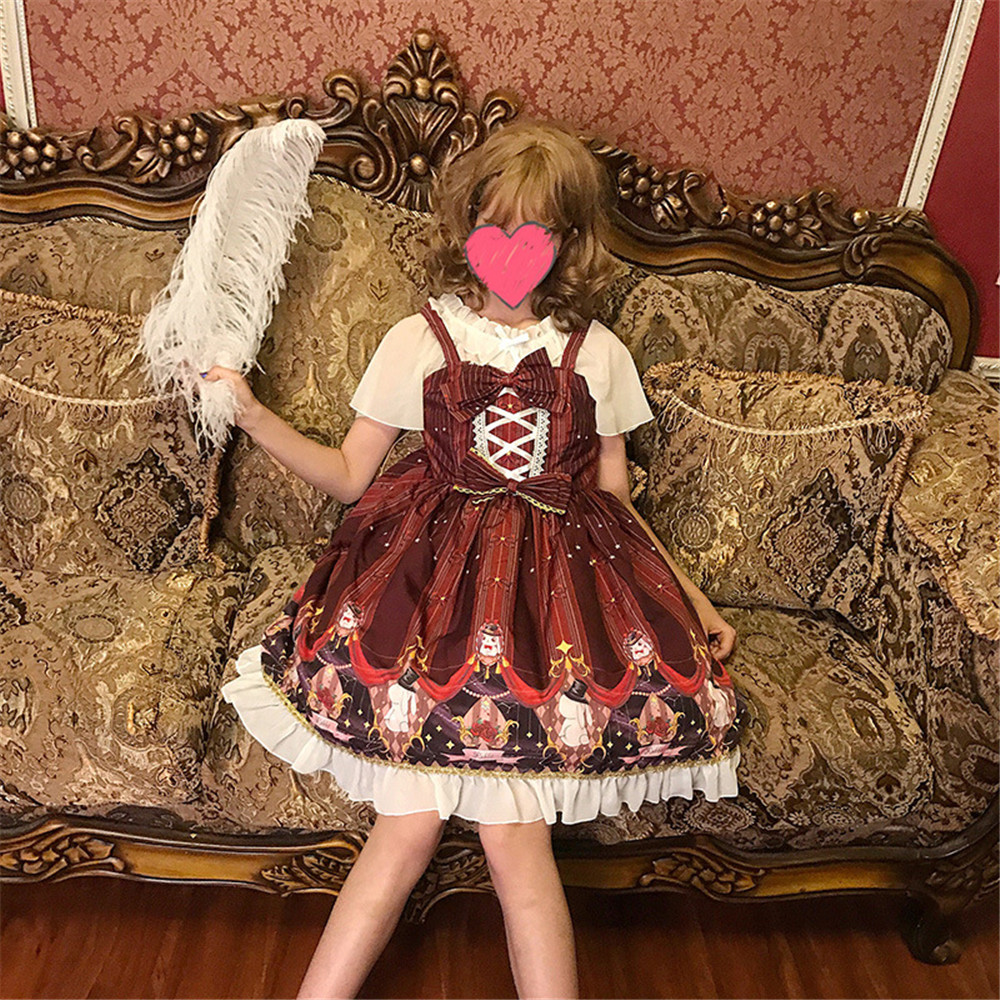 Cosplay Lolita Dress Sweet Rabbit Cute Japanese Kawaii Girls Princess Maid Vintage Gothic Printed Patterns red Lace Sailor suit