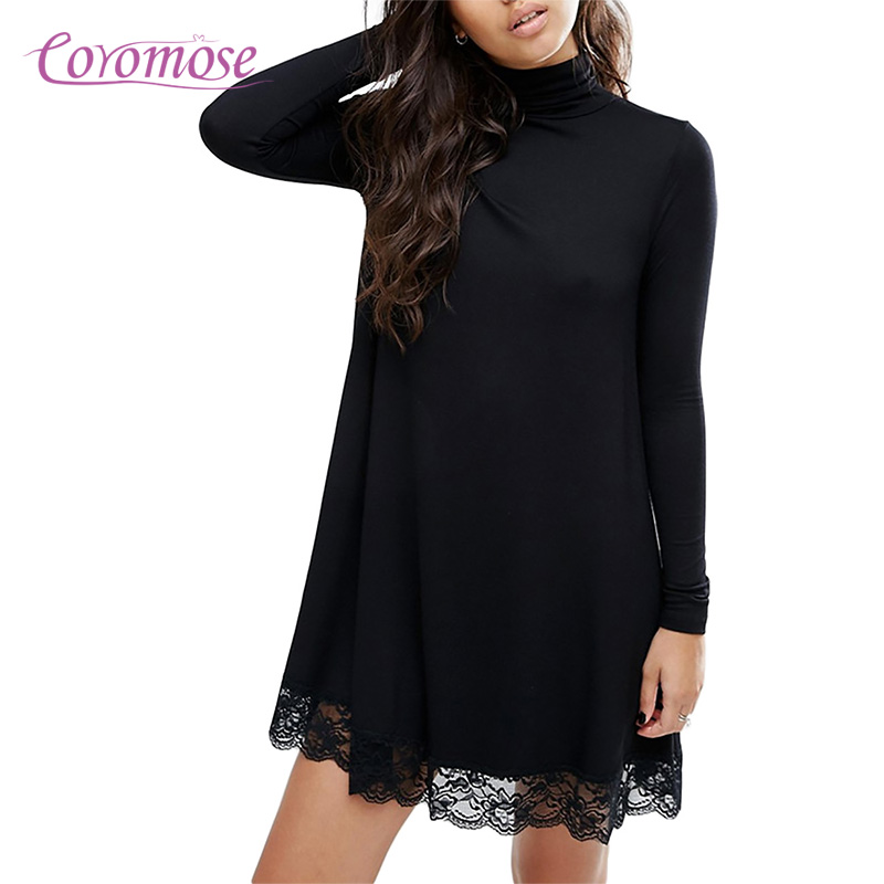 Coromose Women Sexy Black Crochet Lace Long Sleeve Loose Shift Dress Fall Patchwork Dresses Club Dress 2017 Autumn Winter Dress