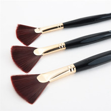 6pcs/set Nylon Hair Sector Oil Paint Brush Black Hexagonal Handle Acrylic Watercolor Pen Gouache Drawing Brush