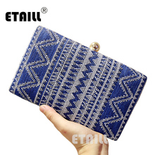 ETAILL 2017 Fashion Navy Blue Ladies' Blue Stripe Clutch handbag Evening Bag Banquet Party Purse Makeup Bag Free Shipping(China)
