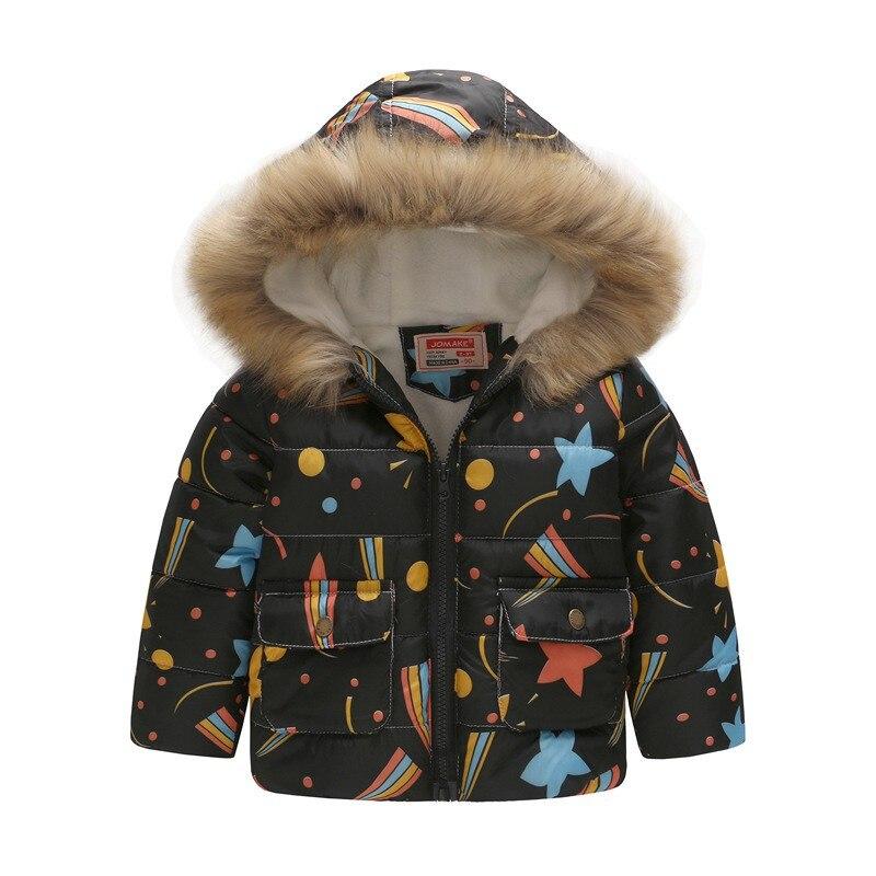 COOTELILI Cute Dinosaur Kids Boys Winter Jacket Cotton Fleece Fur Hooded Parka Baby Boys Coat Outerwear For Children 90-130cm  (7)