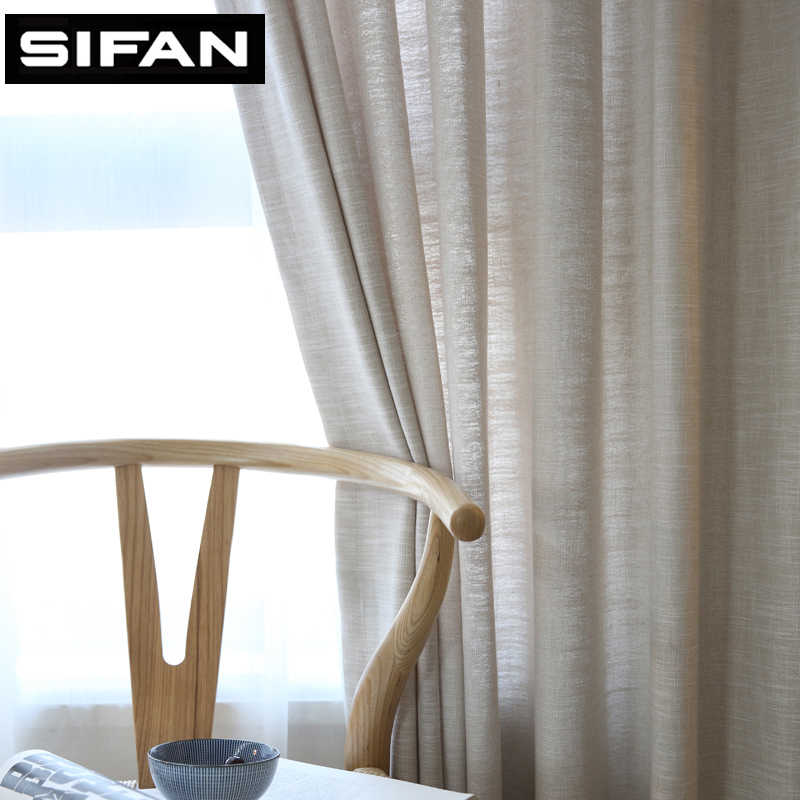 Japan Solid Color Faux Linen Modern Window Curtains for Living Room for Bedroom kitchen Curtains Fabric Blinds