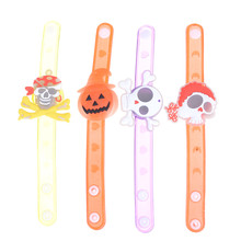 Halloween glitter wrist band Adjustable Bracelet supplies led light glow flashing soft rubber party Fashion children cartoon toy(China)
