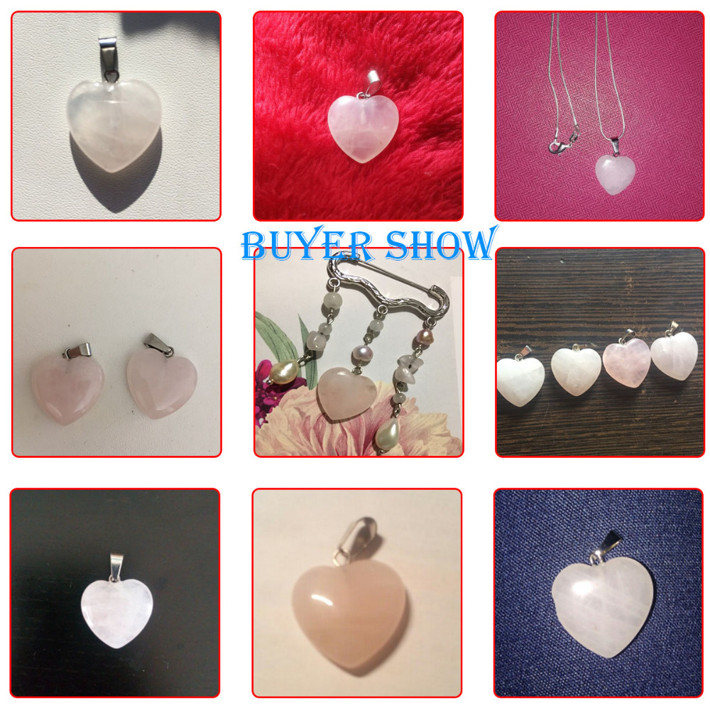 Doreenbeads Hot Fashion Women (Grade B) Created Rose Gem Stone Charm Pendants Heart Pink Jewelry Gift