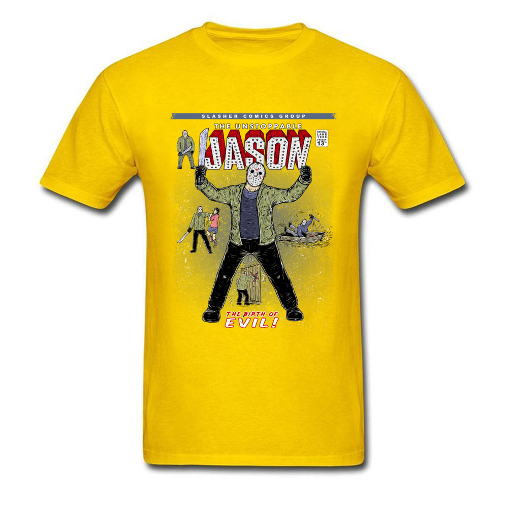 Gift T-Shirt Newest Round Neck The unstoppable Jason 100% Cotton Boy Tees Comics Short Sleeve T-shirts Drop Shipping The unstoppable Jason yellow