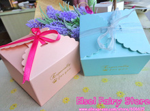 Especially for you Printed Pink and Blue Square Snak Box, Small Gift box , Party Favor Candy Box, Cookies Cake Boxes 30pcs