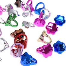 30pcs Mix Lot Cute Rings Small Flower Baby Kids Girl Rings Children's Cartoon Plastic Rings Party Accessories Jewelry