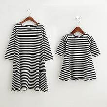 Hot Sale Fashion Striped Design Children Dress Family Mother Girls Dresses Nine Quarter Sleeve Mom Kids Clothes Cotton Clothing
