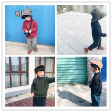 1-7 years 2017 Kids childrens casual solid color boys girls Knit Sweater ( pick size color)(China)