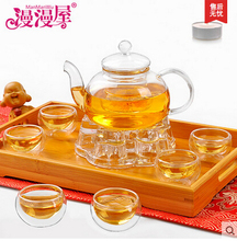 600ML heat-resistant glass tea set / kettle, tea set including 6 double-wall cups + warmer, glass tea pot
