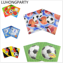 20pcs New Paper Napkin Football Soccer Sport napkin paper tissue kid boy Birthday party Coffee shop glass decoration LUHONGPARTY