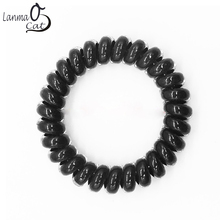 (6pcs) High Quality Hair Scrunchie Telephone Wire Elastic Hairbands Plastic Bracelets for Ladies or Girls in Size M black color(China)