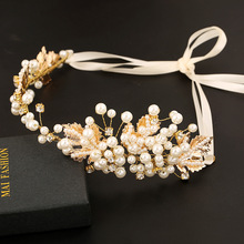 Gorgeous Pearl Wedding Bridal Tiara Headbands Women Handmade Gold Flower Bride Hair bands Girl Prom Hair Jewelry Accessories