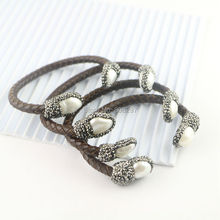 5Pcs Natural Freshwater Pearl Bangle Bracelet, With Pave Crystal Zircon Leather Cord Bracelets, Jewelry Making(China)