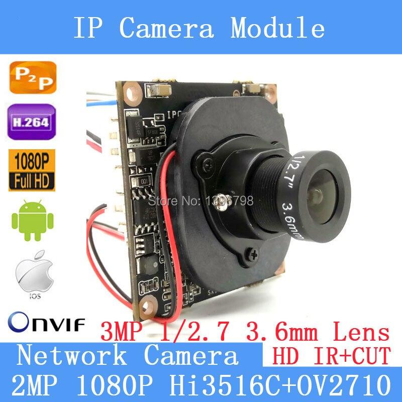 2.0MP IPC 1080P ONVIF P2P 1 / 2.7 HI3516C+OV2710 Night vision Network Surveillance 3MP 3.6mm lens HD IP camera Module POE Cable<br>