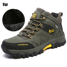 New Men Fur Winter Snow Boots Hike Non-Slip Men Climbing Breathable Mountain Trial Trekking Shoes Outdoor Waterproof  Footwear