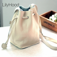 LilyHood 2017 Women Genuine Leather Bucket Shoulder Bag Lady Casual Plain Real Leather Cute Feminine Pastel Color Crossbody Bag