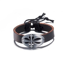 Europe Hot alloy cross leather bracelet & bangles fashion jewelry Christmas gift good quality and low price H157