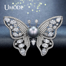 UMODE Fashion Butterfly Shape Brooch and Pin for Women Pearl Brooches Jewelry Wedding Apparel Accessories Crystal Brooch UX0008(China)