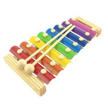 Kids Toys Baby's Early Education Wooden Musical Toys Trailer 8 Scales Xylophone Children's Hand Knocking Piano  HT011