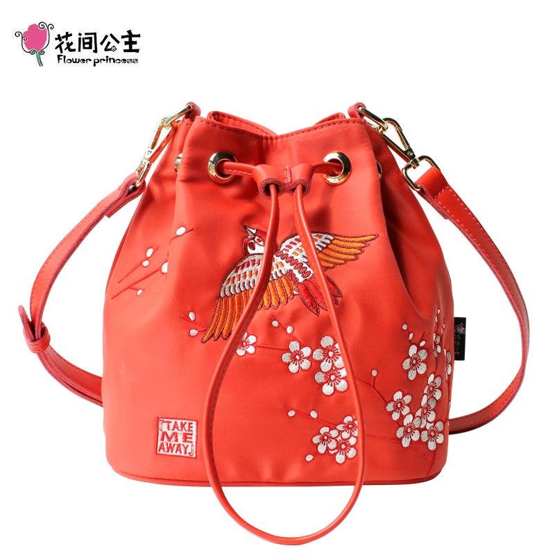 Flower Princess Nylon Embroidery Floral String Bucket Bag Women Shoulder Crossbody Bags Handbag Teenage Girls Ladies Hand Bag<br>
