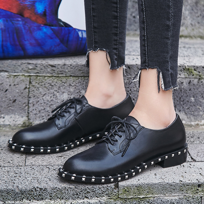 SARAIRIS 2018 New Arrival Brand Spring Autumn Genuine Leather Pumps lace-up Low Heels Shoes Woman Punk Lady Shoe Big Size
