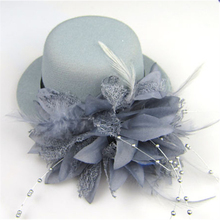 unique Women Party Head Hair Clip Barrette Hat Flower Feather Bride Headband Hairclip Fashion clothes Accessories