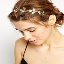 Vintage Greek Style Leaf Design Gold Headband Women Girl Hairband Headpieces Hair Decoration