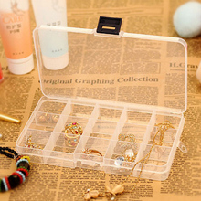 10 & 15 Grids Square Storage Boxes & Bins Jewelry Box Transparent Plastic Mini Medical Kit Necklace Clear Storage Case T1361 P50(China)