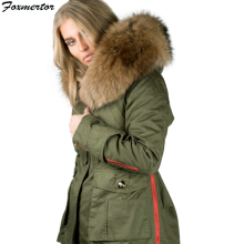 2018 New Women Winter Jacket Large Raccoon Fur Collar Thick Warm Coat Army Green Black Brand Parkas Hooded Female Padded Outwear(China)